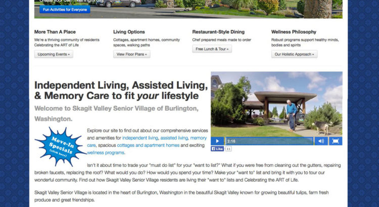 Website Design: Skagit Valley Senior Village