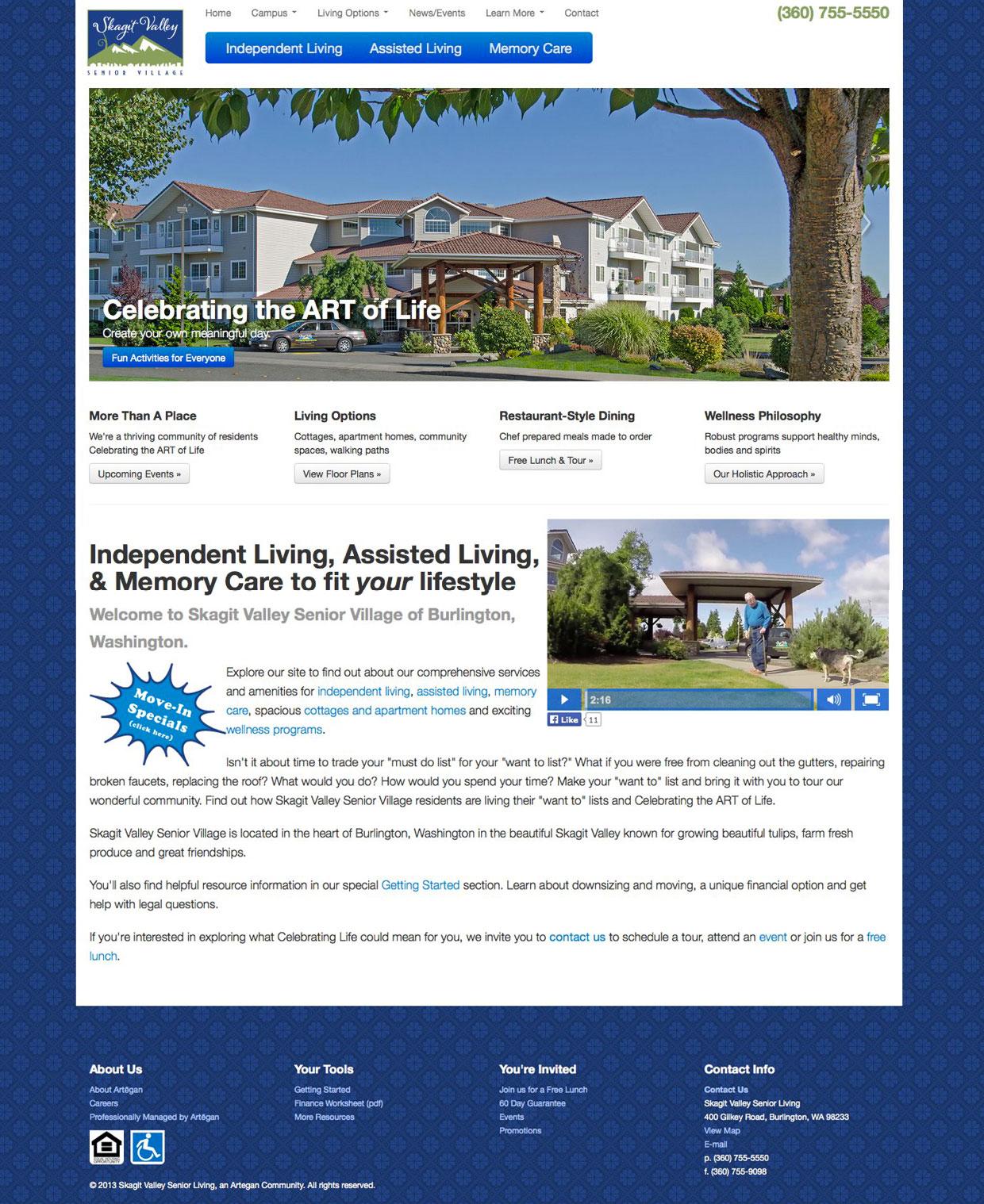 Website Design: Skagit Valley Senior Village